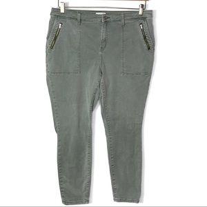 Lila Ryan Cypress Green Skinny Ankle Jeans 16W